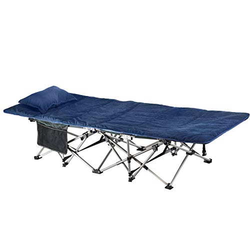 ELTOW Cozy Folding Camping Cot - Heavy-Duty Portable Collapsible Sleeping Bed with Pillow and Mattress - Superior Camping Gear with Strong Steel Frame and 1680D Oxford Fabric - Supports 400 Pounds