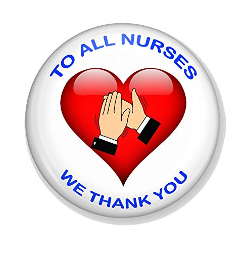 Gifts & Gadgets Co. To All Nurses We Thank You Heart Clapping Hands Miroir de maquillage rond 77 mm Imprimé fantaisie idéal pour sac à main ou poche