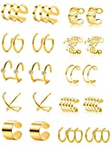 Tornito 4-10 Pairs Stainless Steel Ear Cuff Helix Cartilage Clip On Wrap Earrings Fake Nose Ring Non-Piercing Adjustable (A1:10 Pairs, Gold Tone)