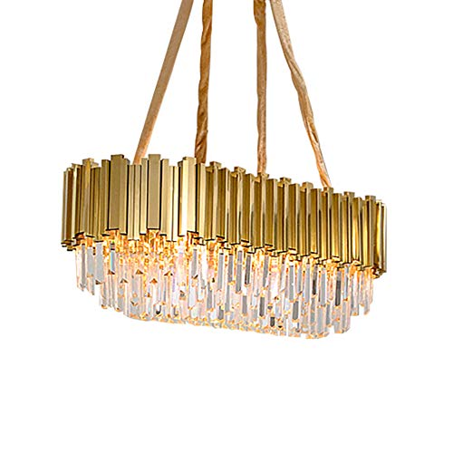 Moderno Cristal K9 Gota Lámparas Con 8-luces,Oval Lujo Elegante Luz De Techo Para Kitchen Island Dining Sala De Estar Dormitorio Pasillo Escalera Hogar