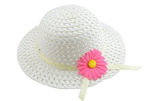 Fablcrew 1Pcs Enfants Chapeau de Paille Anti-Soleil Respirant Anti UV avec Fleur pour Les Filles été Plage Loisir Voyage
