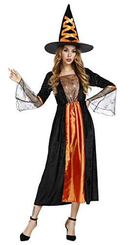frawirshau Adult Witch Costume for Women Sorceress Dress with Wicked Witch Hat Sexy Halloween Costumes, Orange S