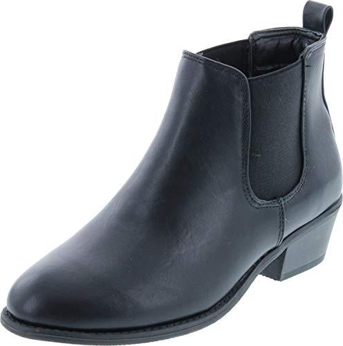 Refresh Tildon-02 Women's Almond Toe Simple Flat Heel Ankle Riding Booties,Black,9