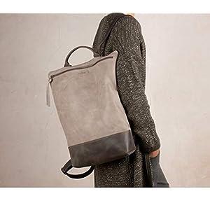 Großer grauer Lederrucksack, Reißverschlussrucksack, Lederrucksack, handgemachter Rucksack, große Lederrucksäcke…