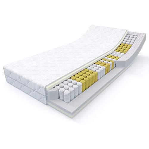 MSS 20 cm hohe 7-Zonen Taschenfederkern-Matratze Medic 100 x 200 cm H2 inkl. hochwertig versteppter Bezug - weiß
