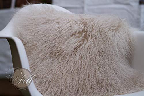 Kissen Hülle Tibet Lammfell Beige Mongolisches Schaffell Tibetlammfell 40 x 40 cm
