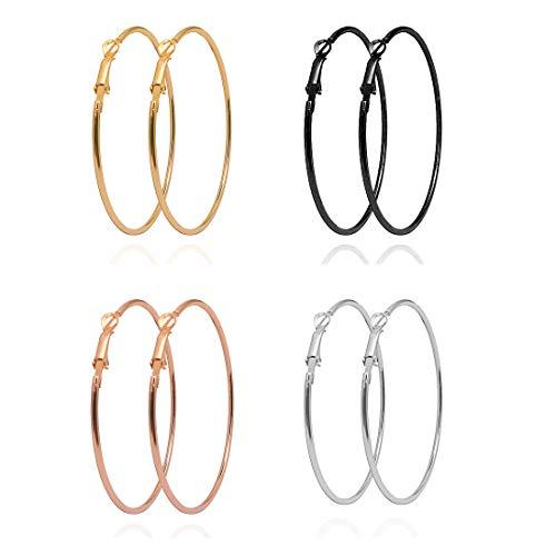 Abogel 4 Pares de Pendientes de aro Grandes para Mujeres y Niñas, Pendientes de aro de acero Inoxidable Chapados en Oro, Oro Rosa, Plata, Color Negro