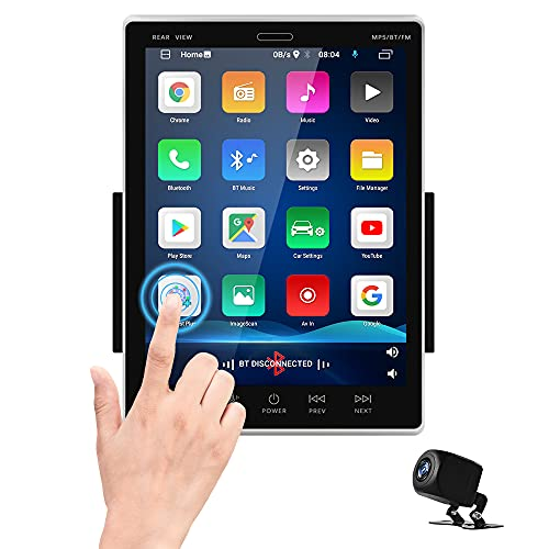 Android Double Din Car Stereo with GPS Navigation 9.5'' Vertical Touchscreen Car Radio MP5 Player Support Bluetooth WiFi FM Radio DVR iOS/Android Mirror Link USB + AHD Backup Camera