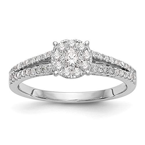 14k White Gold Complete Diamond Cluster Engagement Ring, Size 54