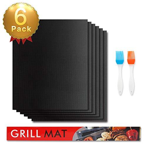 Besfair BBQ Grillmatte (6er Set) zum Grillen und Backen mit 2 Slikon Bürste, Antihaft BBQ Grill-und Backmatte Wiederverwendbar PFOA Frei, 40 x 33 cm – Ideal für Kohlegrill, Gasgrill, Elektro Grill