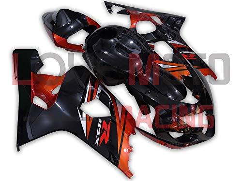 LoveMoto Carenados para GSX-R600 GSX-R750 K4 2004 2005 04 05 GSXR 600 750 Kit de carenado de Material plástico ABS Moldeado por inyección para Moto Negro Naranja