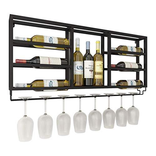 DAGONGREN Simple Nordic Living Room Hotel Estante for vinos de varias capas  Estante for vino negro montado en la pared Cafetería Restaurante Decoración de la pared Armario for vino 9 Estante for bote