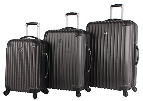 Lucas Outlander 3 Piece Luggage - Lightweight Expandable Scratch Resistant (ABS+PC) Hardside Suitcase- Set Includes 20 Inch Carry on, 24 and 28 Inch Bags With 4-Rolling Spinner Wheels (Graphite)