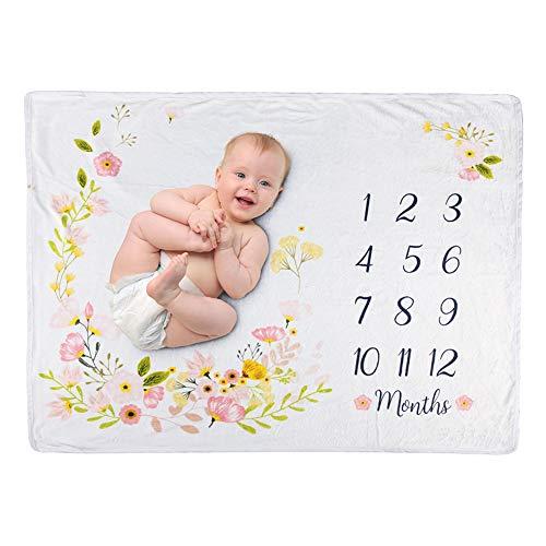 Surakey Manta mensual para bebé, manta de hito, manta para recién nacidos, niñas y niños, manta mensual Milestone, para fotografía de recién nacidos, 100 x 70 cm