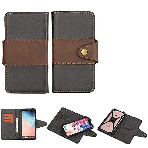K-S-Trade Handy-Hülle Schutz-Hülle Bookstyle Wallet-Hülle Kompatibel Mit BlackBerry Key 2 LE Dual-SIM Bumper R&umschutz Schwarz-braun 1x