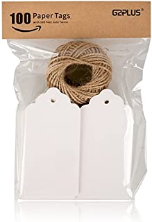 G2PLUS Kraft Paper Tags, Gift Tags with String 10cm X 5cm White Craft Tags Bonbonniere Paper Tags with Twine Perfect for Arts and Crafts, Valentine's Day, Wedding and Holiday, 100PCS