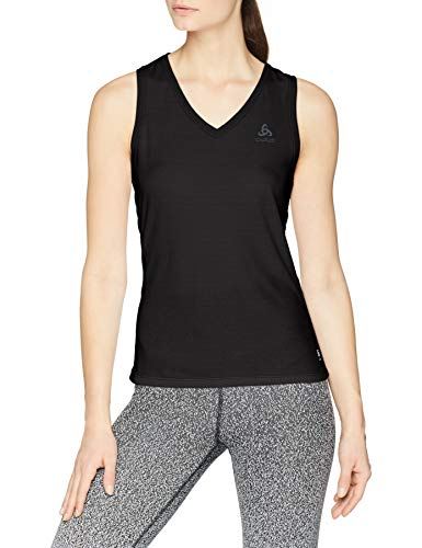 Odlo Damen BL TOP V-neck Singlet ACTIVE F-DRY LIGHT Unterhemd, black, M