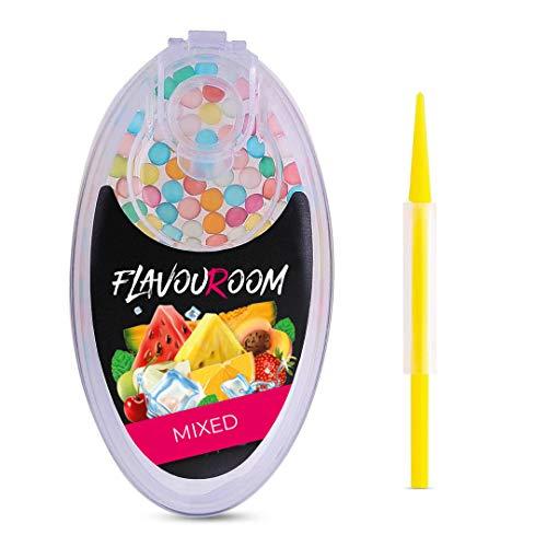Flavouroom - Premium Mixed Kapseln 100er Set | DIY Mix aus 10 Geschmäcken, Filter für unvergesslichen Flavour Geschmack | inkl. Box zur Aufbewahrung der aromatischen Kugeln