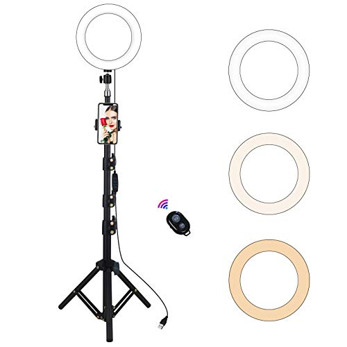 """Yefound 9""""Selfie Ring Light with Tripod Stand&led RingLights Phone Holder, Remote Control, Live Streaming in YouTube/Facebook,Selfie/Photograhp/Video/Makeup, Compatible with Android/iPhone"""