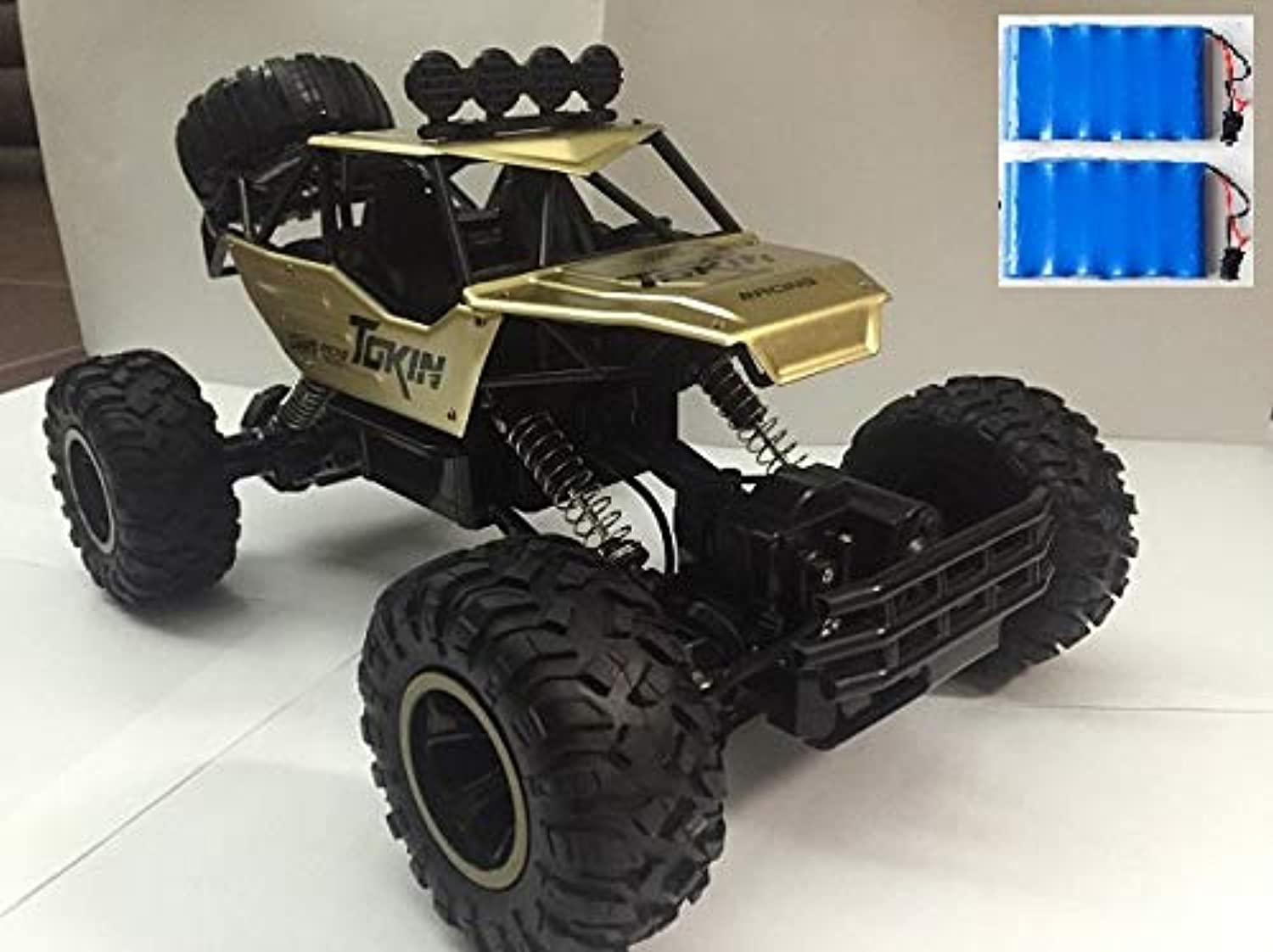 Generic 1 12 RC Car 4WD Climbing Car 4x4 Double Motors Drive Bigfoot Car Remote Control Model OffRoad Vehicle oys for Boys Kids 37cm 2 Battery Brown