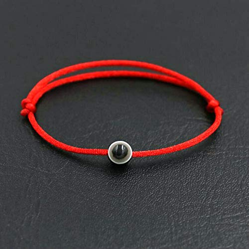 XKMY Pulsera minimalista de la suerte, color azul turco, mal de ojo, para hombre, cuerda roja, cuerda trenzada, para parejas, amantes y pulseras de joyería para mujer (color de metal: ojo negro).