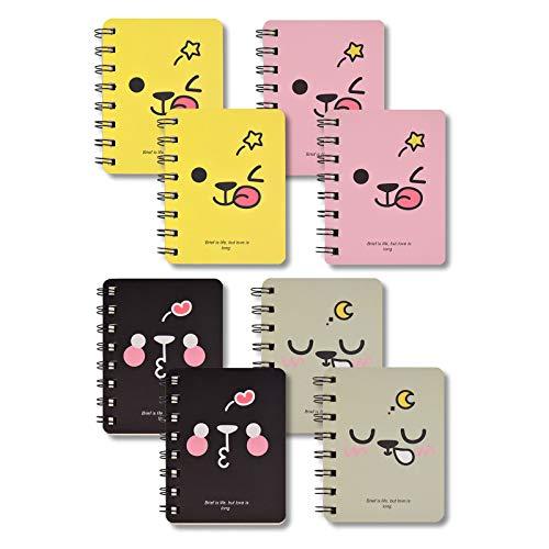 A7 Cuaderno de Espiral Mini 8 Piezas Bloc de Notas Blocs De Notas Portátiles de Bolsillo Almohadillas para Rascar con Patrón De Dibujos Animados Lindo 160 Páginas / 80 Hojas Papel Rayado