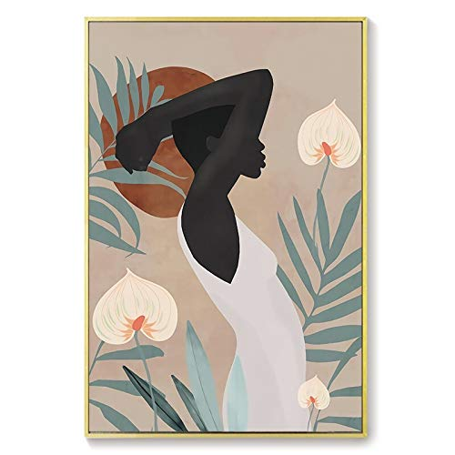 HFWYF Sin Marco Lienzo Abstracto geométrico Pintura Carteles e Impresiones escandinavos Retro Girl Wall Art Picture para Sala de Estar decoración de Cocina 30x40cm