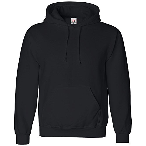 Star and Stripes Classic Plain Pullover Hoodie Unsex and These are Ideal for Mens and Ladies Hooded Sweatshirt, M, Black