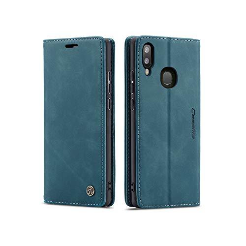 UEEBAI Handyhülle für Samsung Galaxy A40, Retro Matte Handyhülle PU Fallschutz Lederhülle Weich TPU Klapphülle mit Kartenfach Standfunktion Magnetverschluss Flip Case Handytasche - Blau