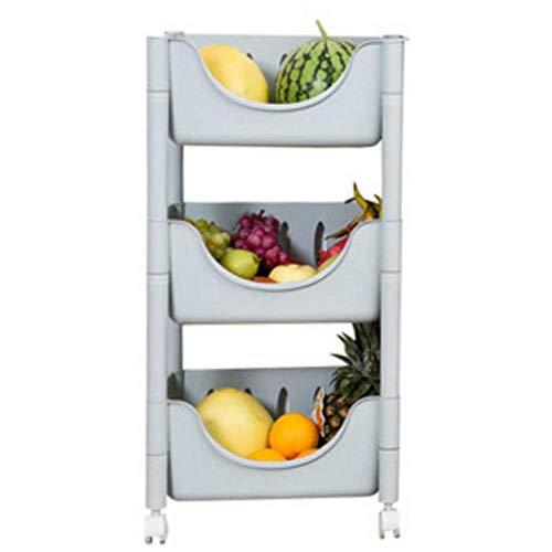 GCE Estante de Almacenamiento de Cocina de pie de Piso de Almacenamiento de plástico de Frutas y Verduras Carro de estantería de plástico con Ruedas de 3 Niveles