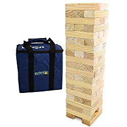 A fun family game for all. Perfect for parties, BBQ's, camping or taking to the park in the sturdy carry bag included. The 58 solid pine blocks build a tower starting at 0.6m high, reaching 1.5m (max.) in play for giant scale fun. Blocks stack in the...