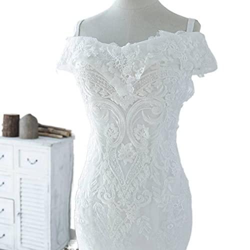Bonito bordado perlas rebordear encaje sirena vestido de novia 2021 nuevas mangas cortas puro blanco vestidos de fiesta de boda WX0203