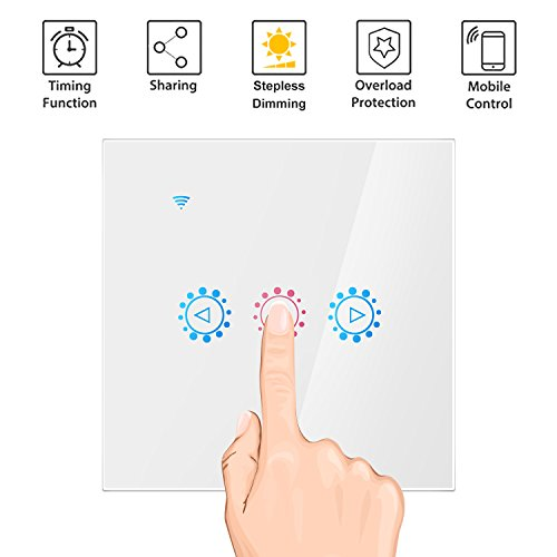 eWeLink Smart Wifi Switch Panel Control táctil Stepless Dimmer Switch con Incandescente Compatible con Amazon Alexa Asistente de Google (White)