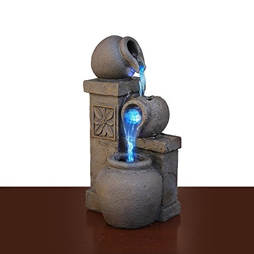 Newport coast collection Color Changing LED Fountain Rustic Vase Tabletop Waterfall Desk Flowing Water