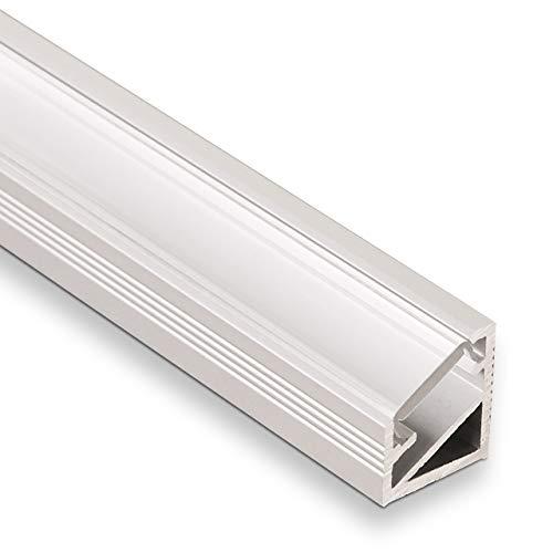 3 Stück LED Profil-66 Eckprofil Alu eloxiert mit opaler Abdeckung 2000 x 14,5 x 16,5 mm von SO-TECH®