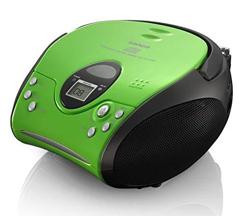 Lenco SCD24 - CD-Player für Kinder - CD-Radio - Stereoanlage - Boombox - UKW Radiotuner - Titel Speicher - 2 x 1,5 W RMS-Leistung - Netz- und Batteriebetrieb - Grün Schwarz