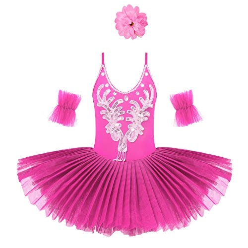 Aislor Kids Girls Leotard Tutu Dress with Arm Sleeves Hair Clip Ballet Dance Professional Dancewear Stage Performance Classic Rose_Red 7-8 Years