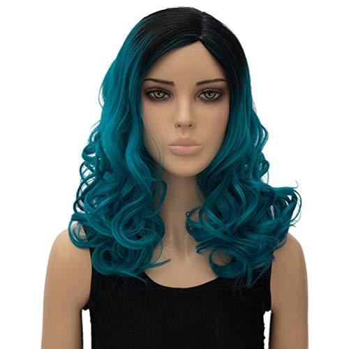 HongHu moyen long grande perruque frisée ondulée côté partie chaleur élégante perruques cosplay anime ou perruque utilisation quotidienne pour les femmes dégradé point culminant noir et bleu