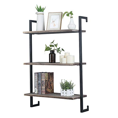 Industrial Pipe Shelf Wall Mounted,Steampunk Real Wood Book Shelves,Rustic Metal Floating Shelves,Wall Shelving Unit Bookshelf Hanging Wall Shelves,Farmhouse Kitchen Bar Shelving(2 Tier,24in)