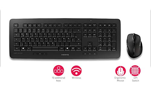 CHERRY DW 5100 - Kabelloses Tastatur-Maus-Set - 10 Zusatztasten - deutsches Layout - QWERTZ Tastatur - Schwarz