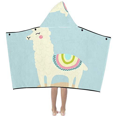 Animal lindo Llama Suave y cálido Niños Vestir Con capucha Manta portátil Toallas de baño Envoltura para niños pequeños Niño Niña Niño Tamaño Viajar en casa Picnic Dormir Regalo