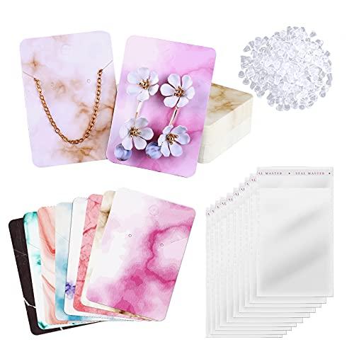 AIEX Joyería Pendientes Collar Pulseras Set de Exhibición Incluye 200 Piezas Tarjetas de Mármol 400 Piezas Respaldo de Pendientes 200 Piezas Bolsas de Plástico Autoadhesivas para Embalaje Exhibición