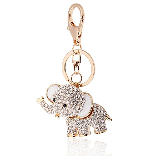Handbag Buckle Charms Accessories White Lucky Elephant Keyrings Key Chains HK4