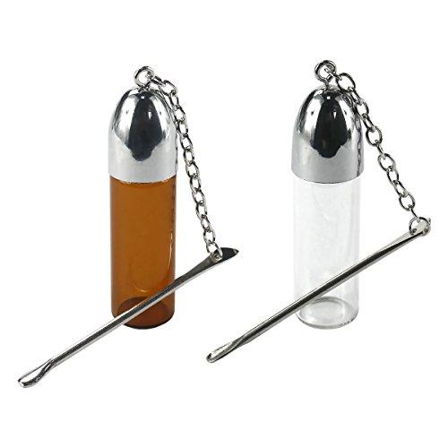 FORMAX®420 2 Pack glazen snuifflessen met metalen lepel schroef dop container snuif bruin en duidelijk