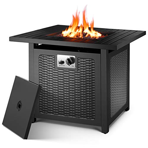 """OKVAC 28"""" Propane Gas Fire Pit Table, 50,000 BTU Square Fire Bowl, Outdoor Auto-Ignition Fireplace with CSA Certification, 600D Waterproof Cover, Lava Rock, for Balcony/Garden/Patio/Courtyard"""