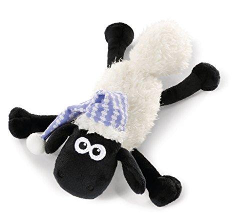 NICI 41463 Shaun das Schaf Kuscheltier mit Schlafmütze liegend, 20 cm, Farbe: Weiß/Schwarz