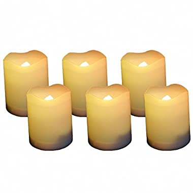 EcoGecko 87111 Indoor/Outdoor Votive Flameless LED Candles with Timer 400-hour Battery Life, Set of 6, 1.38  x 1.38  x 1.75