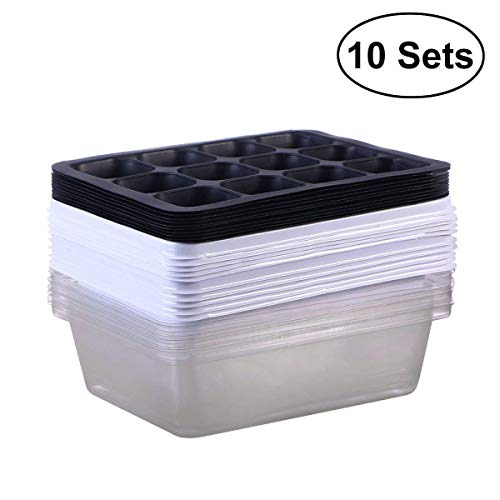 Fleurs KORAM Lot de 10 graines de bac /à semis Starter Plateaux de Croissance avec kit de Germination Serre Croissance Plateaux avec d/ôme et Base 120 cellules pour semis Jardin