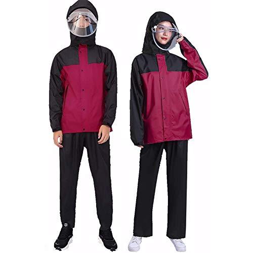 Impermeable con tapa y mangas reutilizable, multifuncional, ligero, para montar a la lluvia al aire libre, para uso al aire libre, rojo, M