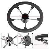 Marinebaby 3-1/2 Inches Boat Stainless Steel Steering Wheel with Black Foam Grip